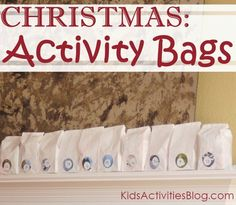{It's Playtime} December Holidays- 20 + activity bags to help count down until Christmas!
