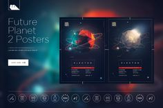 Futuristic Planet Party 2 Posters by mesmeriseme.art on @creativemarket