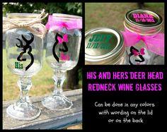 His and Hers Deer Head Redneck Wine Glasses