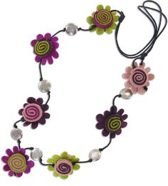 Flowers and Buttons Felt Necklace Fair Trade