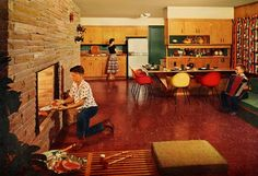 1957. Yes. I have a BBQ built into my fireplace, too!