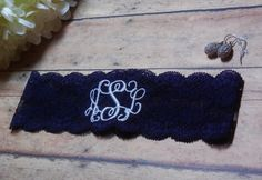 Monogrammed Garter, Navy Garter, Blue Garter, Something Blue, Monogram, Personalized Garter, Custom Garter, Keepsake Garter, Wedding, Bridal by BloomsandBlessings on Etsy