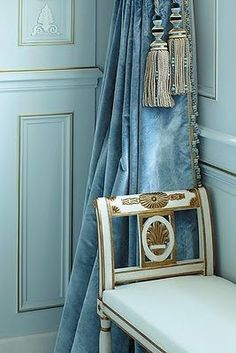 Antique velvet valance and french settee. beautiful blues.