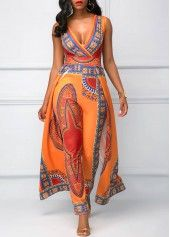 Orange Overlay Embellished Dashiki Print V Neck Jumpsuit on sale only US$41.53 now, buy cheap Orange Overlay Embellished Dashiki Print V Neck Jumpsuit at liligal.com