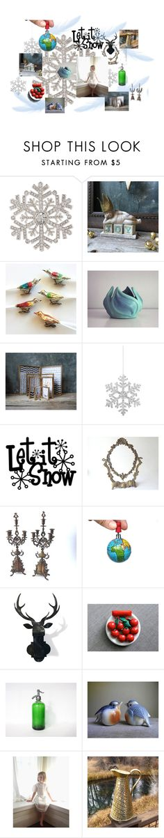 """""""Let It Snow"""" by untried-shop ❤ liked on Polyvore featuring interior, interiors, interior design, home, home decor, interior decorating, Anne Klein, Shishi, vintage and VintageAndMain"""