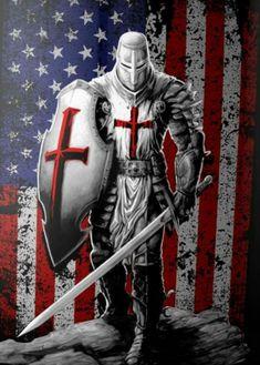 Christian Warrior, Christian Art, Tattoo Caballo, Templar Knight Tattoo, Armor Of God Tattoo, Knights Templar History, Archangel Tattoo, Spartan Tattoo, Warrior Tattoos