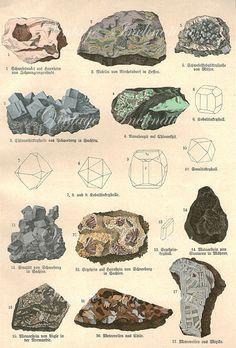 Vintage 1878 LARGE Minerals Print XIX Antique Gems Precious Stones print, art print, lithograph minerals wall print wall art. $65.00, via Etsy.