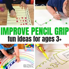 pencil grip activities and ideas fine motor development palmar grasp tripod grasp preschool toddler tips for holding a pencil 3 Year Old Preschool, 4 Year Old Activities, Fine Motor Activities For Kids, Motor Skills Activities, Toddler Learning Activities, Montessori Activities, Educational Activities, Writing Activities For Preschoolers, Kindergarten Readiness