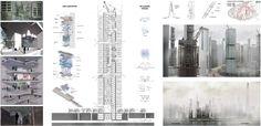 "eVolo 2016 Honorable Mention  Project by: Fangshuo Liu, Xiaoyu Wu, Qianhui Liang, Jin Che, Shoda Tomoki, Pablo Mariano Bernar Fernández-Roca CHINA, SPAIN ""A Core Issue Against Smog: The New Urban Air Infrastructure"""