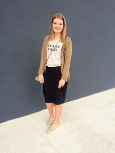 An Aspiring Plant Lady - A Pair of Us Modest casual outfit, casual black skirt outfit Modest Casual Outfits, Black Skirt Outfits, Midi Skirt, Modest Clothing, My Style, Lady, Skirts, Clothes, Fashion