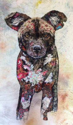 Wild dog textile embroidered art