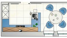 Grundriss für Küche in U-Form