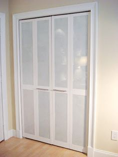 DIY Bi-Fold Closet Door Makeovers Plexiglass sheets cut to size, and then painted the backs white. Installed them right over the louvers!