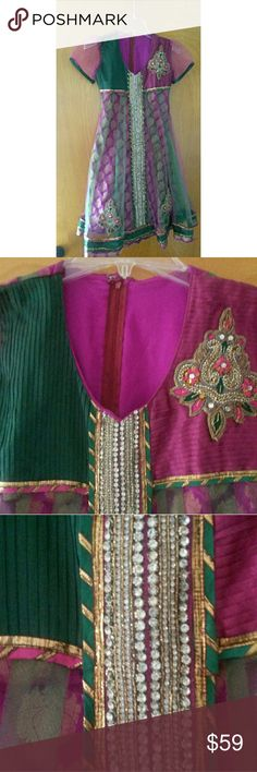 Indian Cultural Embellished Ladies Dress Beautiful embellished beaded dress. Size extra small. Back zipper. I see a few mussing rhinestones.  Very nice condition.  Beautiful indian cultural dress. indian cultural dress Dresses Midi