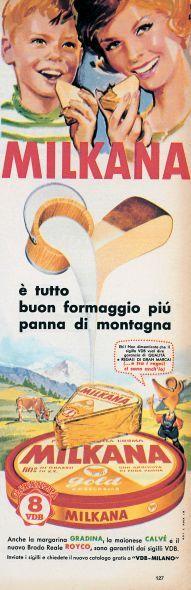 La pubblicità del formaggino Milkana in una immagine degli anni '60