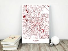 Moscow City Map  Printable Download jpg File  by MarinaMapPrints