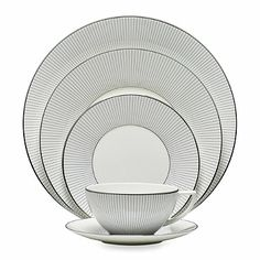 Wedgwood® Jasper Conran 5-Piece Place Setting in Blue Stripe - BedBathandBeyond.com