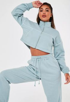 Missguided - Blue Co Ord Crop Zip Through Contrast Piping Sweatshirt Cute Comfy Outfits, Sporty Outfits, Chic Outfits, Winter Fashion Outfits, Look Fashion, Girl Fashion, Loungewear Outfits, Pajama Outfits, Co Ords Outfits
