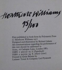 Heathcote Williams' Signature (author of Hancock's Last Half Hour)