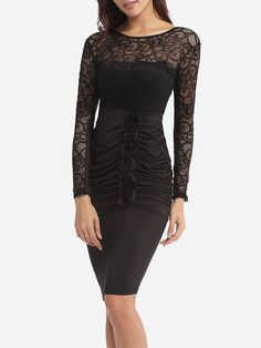 Hollow Out Lace Patchwork Plain Zips Embossed Design Captivating Round Neck Bodycon Dress - fashionme.com