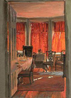 Estella Canziani, 1887-1964. Edith Holman Hunt's Drawing Room, Watercolour, 1925-28 | Birmingham Museums & Art Gallery