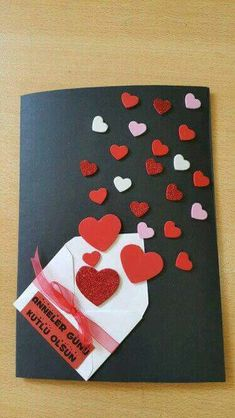 Create beautiful and colorful cards with leftovers of cardboard or foamy - סקראפ - Muttertag Mothers Day Crafts, Valentine Day Crafts, Crafts For Kids, Handmade Birthday Cards, Diy Birthday, Love Cards, Diy Cards, Valentines Bricolage, Homemade Cards
