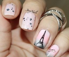 Paris pink Eiffel Tower nails