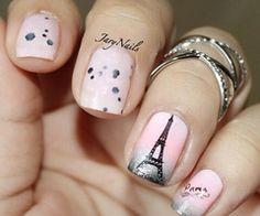 Paris pink Eiffel Tower nails