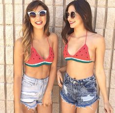 Watermelon top and jean shorts :D