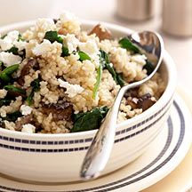 Mushroom and Spinach Couscous  4PointsPlus Value  You can whip up this gourmet-like specialty in no time: The couscous cooks in a flash, so it's the perfect last-minute side dish or light meal.