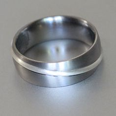 raised silver and titanium ring Titanium Rings, Wedding Bands, Engagement Rings, Silver, Projects, Gold, Jewelry, Jewellery Making, Money