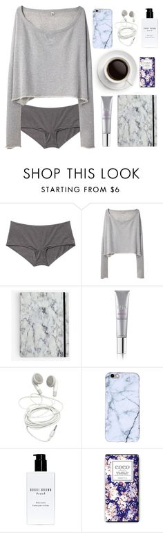 """""""Wishing I could stay in bed forever"""" by tamo-kipshidze ❤ liked on Polyvore featuring Monki, R13, Tria, Bobbi Brown Cosmetics, bed and mood"""