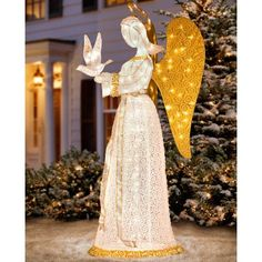 60″ Christmas Angel with Dove Pre Lit Nativity Scene Display Sculpture Glittering Tinsel Yard Outdoor Decor Holiday Christmas Lighted Decoration | 5ive Dollar Market