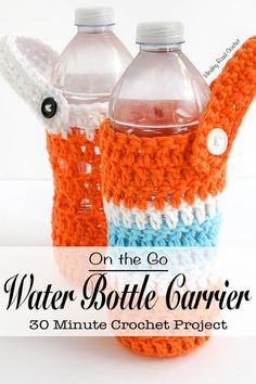 On the Go Water Carrier | Beat the summer heat and never be without water when you make on of these quick and easy water bottle carriers. This free crochet pattern is great for beginners, people with not a lot of time to crochet, anyone with a little extra yarn from a project or anyone who drinks water. Make a crochet water bottle carrier for everyone in your family before your next family outing. This bottle carrier can be fastened to a backpack, purse or stroller. #freecrochetpattern #free…