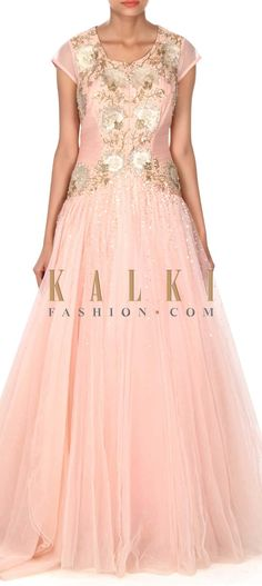 Buy this Baby pink gown adorn in patch embroidery only on Kalki