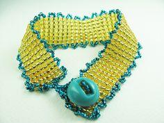 Beadwork Bracelet Gold & Turquoise w Vintage Button by BohemianIce on Etsy #beadwork #jewelry #handmade