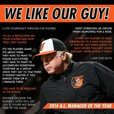 Congratulations to Buck Showalter, the BBWAA AL Manager of the Year! Baltimore Orioles Baseball, Baltimore Maryland, Baltimore Ravens, Baseball Quotes, Baseball Cards, Buck Showalter, Colorado Rapids, Land Girls, Virginia Tech Hokies