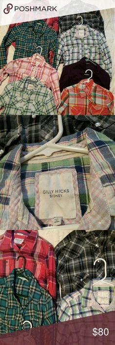 WOMEN FLANNEL BUNDLE You will receive 8 women flannel tops. 3 are size large, 5 tops are size medium. All in guc, no flaws. Brands are Express, Gilly Hicks, Aeropostale, OP, Arizona & Maurices. Aeropostale Tops Button Down Shirts