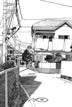Architectural - Urban Sketches and Cityscape Drawings Japon Illustration, Illustration Sketches, Drawing Sketches, Art Drawings, Drawing Ideas, Urban Architecture, Architecture Drawings, Architecture Background, Architecture Panel