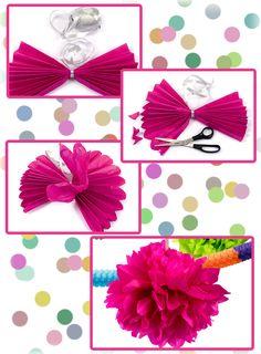 Pompons in verschiedenen Farben und Größen sind eine tolle Dekoration für jede Faschingsfeier.