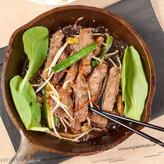 Yakiniku Beef Recipe - Tender fried beef with a sweet and savoury Yakiniku Sauce | MongolianKitchen.com