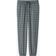 UNIQLO Women's Drape Pants (4.135 HUF) via Polyvore featuring pants, black, elastic waistband pants, loose pants, drawstring pants, elastic waist pants and drapey pants