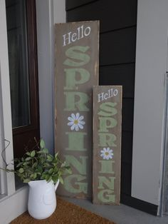 Hello Spring sign. This vertical Spring sign would look great outside or inside of the home. This sign is 10x40 and stained a medium colored stain on the front and back, a taupe brown color is painted on the front, the words Hello are white, the daisy is white with a yellow center and the words Spring is painted an earthy neutral green. The whole sign is sanded to distress and polyurethane is painted on to protect. My large 10x40 signs do not come with a saw tooth hanger on the back to…
