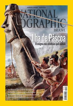 """Photographic Print: Ancient Easter Islanders Used Ropes to """"Walk"""" the Moai Statues. Ngm July 2012 Cover by Fernando G. National Geographic Shows, National Geographic Photography, National Geographic Society, Easter Riddles, Volcano Photos, Easter Island Statues, Cool Magazine, Magazine Covers, France"""