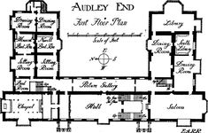 Audley End house, Essex. First floor plan.