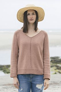 Subtle lines are used to great effect in this long-sleeved v-neck pullover by Isabell Kraemer. Knitted in Tern from the top down with raglan shaping, the sweater begins flat for working the v-neck and from there, in the round to the hem. Garter stitch cuff and hems finish off this simple and classic beauty.