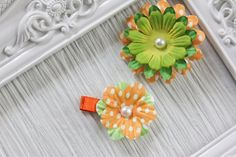 Lime Green and Orange Polka Dot Flower Hair Clips - Set of 2 - $3.50 on Etsy!