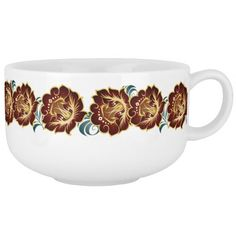 Large Abstract Deep Red Flower Wreath Soup Mug 2