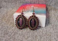 Purple cats eye earrings, Violet earrings, Purple beaded earrings, Gifts for Her, Art pendant, Charm earrings, Unusual gift, Seed Beads