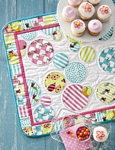 """""""Bubble Runner"""" ~ A combination of hand quilting and embroidery enhances playful circle appliqués on a quick-to-make table runner. ~ Fun!!"""